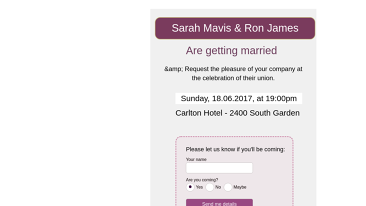 Wedding Invitation RSVP Form